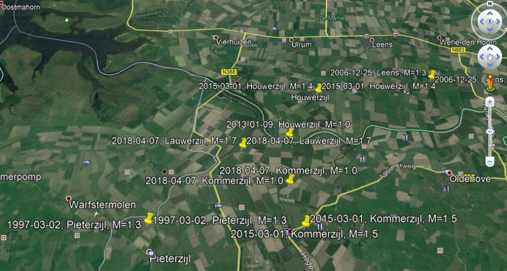 Aardbevingen rond Pieterzijl